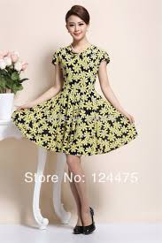 sales rockabilly best retro vintage yellow flower pin up dress