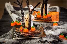 spooky halloween candy trees around my family table