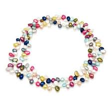 coloured pearls necklace images Single strand mixed colour irregular freshwater pearl loop jpg