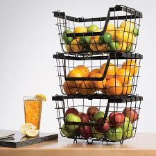 Wire Baskets For Kitchen Cabinets Amazon Com Giftburg 3 Piece 3 Tier Stacking Fruit Utility
