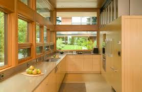 Kitchen Cabinets Without Handles Exceptional Efficient Kitchen Layout Featuring Blue Cabinet With