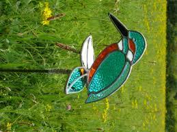 Garden Glass Art Stained Glass Kingfisher Garden Stake Dragonfly Glass Art