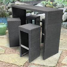 patio furniture high chairs set with wicker material and stoned