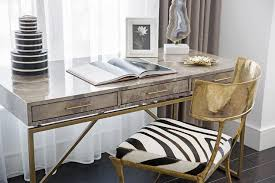 Zebra Print Desk Chair Brass Base Desk With Gray Agate Lamp In Front Of Window