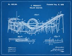 Viper Roller Coaster Six Flags Patent 1898 Roller Coaster Art Print Wall Art Thrill Ride
