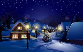 christmas night snow scenery vector vector christmas