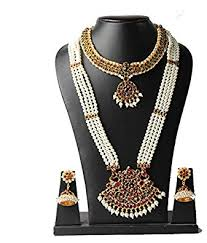 short chain pearl necklace images Buy fashion205 4 line long pearl haram with pendant and short jpg