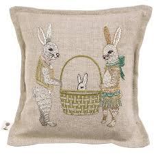 Easter Home Decor Bunny Rabbit Throw Pillow 12inch Square Burlap Front Desert Bush