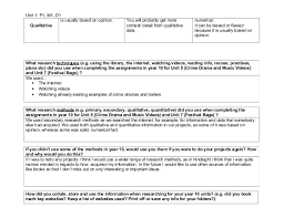 unit 1 research methods worksheet for year 10