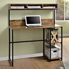 features fixed side shelves for additional storage great for use in small spaces large worksurface with 3 compartment hutch above
