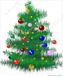 holidays tree with baubles and lights stock