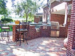 outdoor kitchens concrete and brick two common options