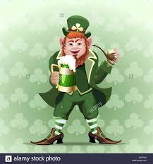 illustration of smiling leprechaun with green beer mug and smoking