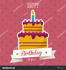 cake candle happy birthday celebration party stock vector