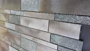 LOCAL PICKUP Brushed Aluminum Tile  Black Quartz Mosaic Tile - Aluminum backsplash