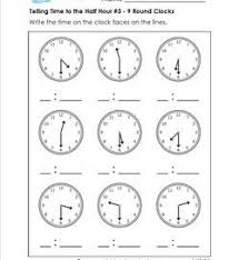 telling time half hour telling time to the half hour worksheets for grade