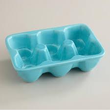 ceramic egg tray aqua ceramic half egg crate at cost plus world market