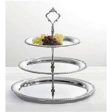 tiered serving stand 3 tier chrome finish serving tray