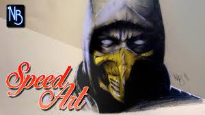 speed art drawing scorpion mortal kombat x youtube