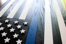 thin blue line wood flag thin blue line flag us flag