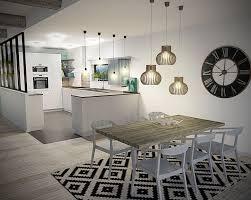 pendule cuisine design cuisine salle à manger scandinave 3d grande horloge tapis noir