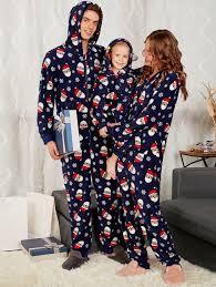 santa claus print matching family pajama sets purplish