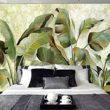 custom mural wallpaper southeast asian tropical green banana leaf
