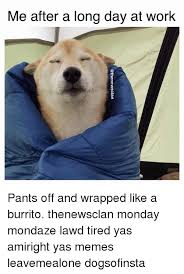 Long Day Memes - me after a long day at work pants off and wrapped like a burrito