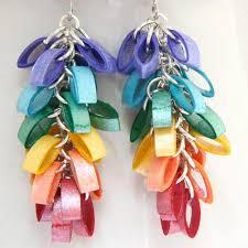 eco friendly earrings eco friendly earrings rainbow cluster modern paper jewelry niobium
