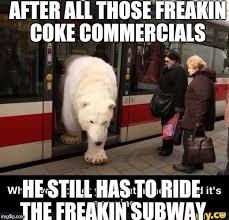 Coke Bear Meme - white privilege polar bear imgflip