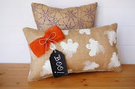 burlap halloween throw pillow spider web square pillow ghost