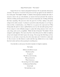 solution poem analysis jacques prevert the garden studypool