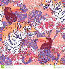 tropical floral seamless background with tiger stock vector