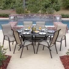 Madison Outdoor Furniture by Madison Bay 7 Piece Sling Patio Dining Set With Stacking Chairs