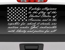 Car Window Flags Pledge Of Allegiance American Flag Vinyl Window Decal For Car