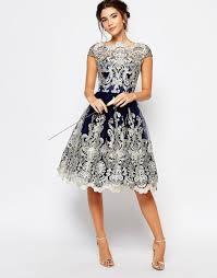lace wedding guest dresses image 4 of chi chi premium metallic lace midi prom dress