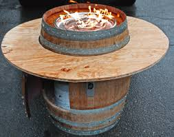 Diy Firepit Table How To Build Wine Barrel Table Amazingglassflames