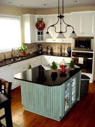 dark brown varnish wood island small kitchen design glossy ceramic