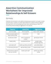 assertive communication worksheet self esteem worksheets