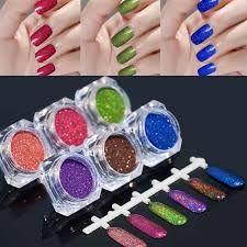 6 colors holo glitter laser powder kit nail art gorgeous pigment