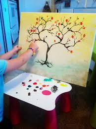 munchkintime autumn craft for kids fingerprint tree on canvas
