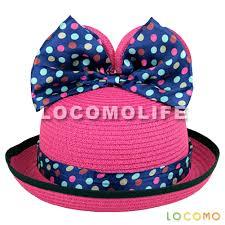 mickey ribbon girl mickey minnie mouse ear ribbon bow straw hat pink