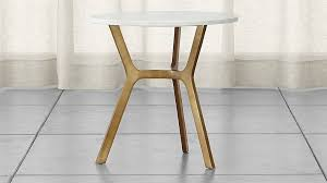 elke round marble end table with brass base crate and barrel