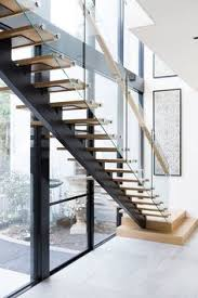 Glass Stair Handrail Stairs Contemporary Staircase Architecture American Oak