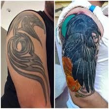 raven cover up tattoo by adam sky rose gold u0027s tattoo san