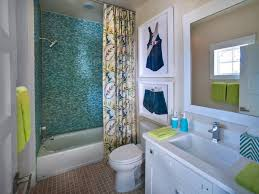 bathroom blue glass tile shower in a charming kid bathroom using