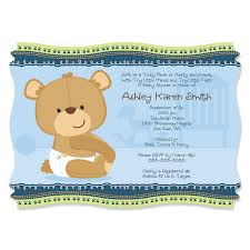 baby boy teddy bear personalized baby shower invitations