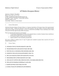 madison high course expectation sheet ap modern european