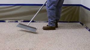Commercial Flooring Systems How To Apply Colored Epoxy Flake Floor System Garage And