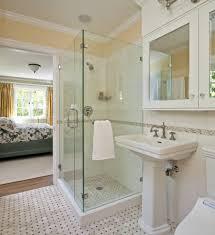 same floor and shower tile bathroom beach style with frameless